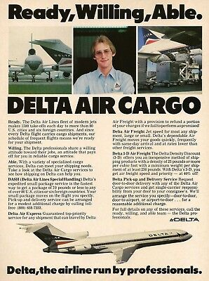 1981 Delta Air Cargo Ready Willing Able worker airliner photo Vintage Print Ad