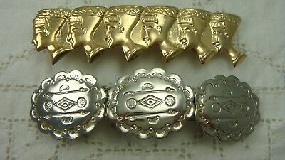 Vintage 1980's Pair Gold Silver Egyptian & Southwestern Hair Barrettes