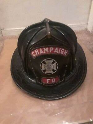 Vtg CAIRNS Leather Fireman Fire Fighter Hat Fire Department Helmet  Champaign FD