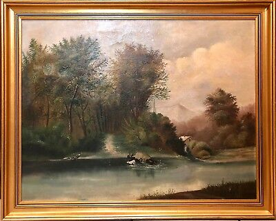 "Large Antique Folk Art Landscape Oil Painting on Canvas ""The Ford"" by WM Daly"