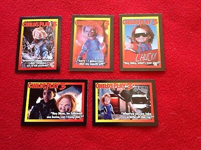 Child's Play 3 complete set of 5 HORROR trading cards Great Shape ! CHUCKY 1991