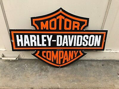 "Nice ""harley Davidson"" Double Sided Porcelain Dealer Sign, Dated 1954"