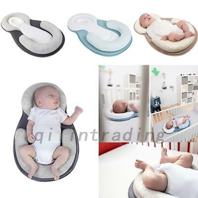 Infant Baby Anti-Roll Pillow Cushion Prevent Flat Head Sleep Nest Pod 3 Colors