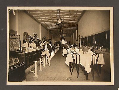 ORIGINAL 1910s SALOON / CAFE / LUNCH COUNTER INTERIOR PHOTOGRAPH - BARROOM PHOTO