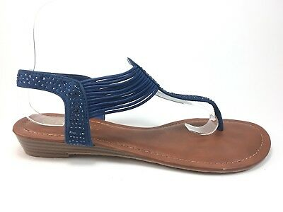 df03c55263cb34 Dream Pairs Spparkly Women s Elastic Strappy Sandal Size 8.5 Blue j8