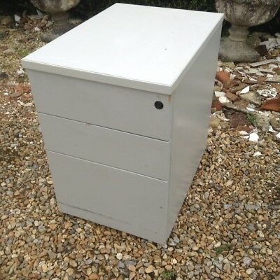 3 - Drawer Small Wooden (MDF) Grey Laminated Filing Cabinet On Castors