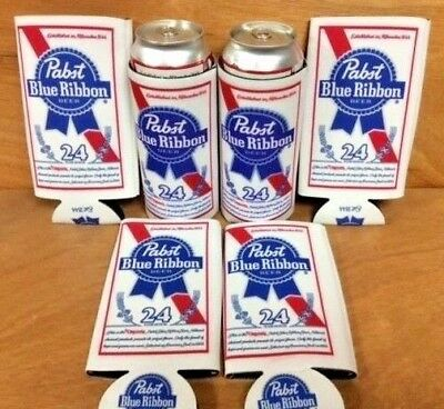 Pabst Blue Ribbon PBR Beer Koozie 24 oz Tall Can Cooler Six (6) Pack - New & F/S