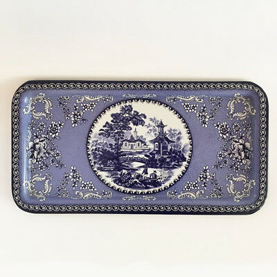 Vintage Daher Decorated Ware Blue Willow Tin Serving Tray, Asian Scene, England