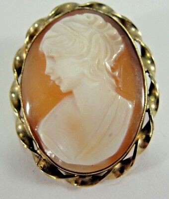 Vintage BAL-RON 12kt Gold-Filled Carved Shell Cameo Pin  / Pendant  4.1g