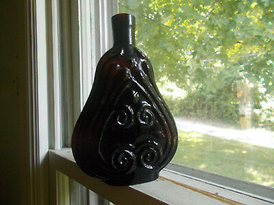 Deep Amber Hand Blown Pint Scroll Flask Clevenger Bros Repro Real Nice