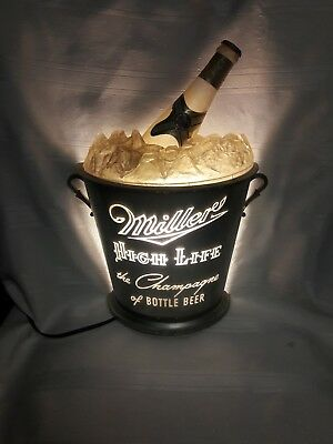 """This is an oldie  Miller High Life Light Up Ice Bucket Sign """"Champagne of Beer"""""""