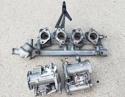 Set Of Vintage Alfa Romeo Dellorto Carburetors & Manifold & Mounts - Spider GTV