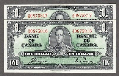 1937 Bank of Canada Consecutive Pair $1.00 UNC Bank Notes - Coyne Towers R/N