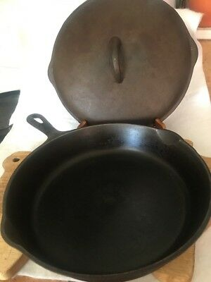 """Antique Wagner Wear National 10"""" Double Pour Cast Iron Skillet Pan Made Usa• 8A"""