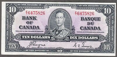 1937 Bank of Canada - $10.00 Bank Note - VF/EF - Coyne Towers - E/T 6475826