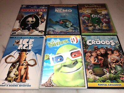 Lot Of 6 Dvds Shrek 3D Ice Age Croods Finding Nemo Chicken Little