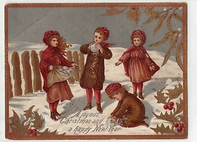 1800's Victorian Card -A Joyous Christmas / New Year Card - Selling Lot Of Cards