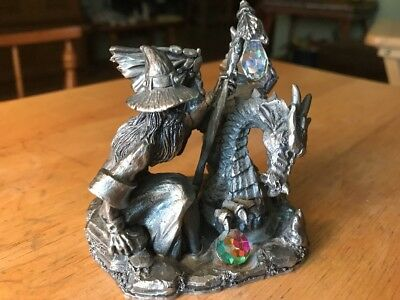"""Pewter Dragon WAPW"""" The Water Dragon"""" with Wizard 2 Crystals"""