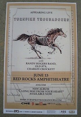TURNPIKE TROUBADOURS Randy Rogers Band 2018 Red Rocks 11x17 Concert / Gig Poster