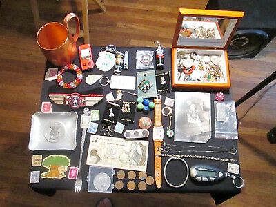 Junk Drawer Lot estate sale old coins jewelry stamps sterling chain vtg photo