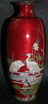 Stunning Old Japanese Cloisonne Vase With Bird Decoration - Very Rare - L@@k
