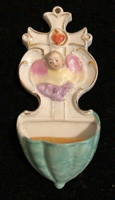 Beautiful Vintage Holy Water Font Hand Painted Porcelain Angel Cross Heart LQQK
