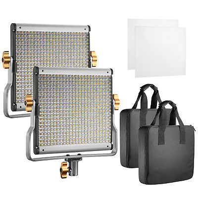 Neewer 2 Packs Dimmable Bi-color 480 LED Video Light Panel