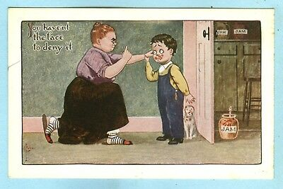 """1st of 2 Vintage, KIDS, """"You haven't the face to deny it"""", Boy with Jam on Face"""