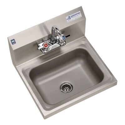 """Single Bowl Hand Sink 17""""x15""""x13"""" 2 Hole Wall Mount Stainless Steel Lightweight"""
