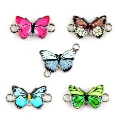 10x Mixed Color Butterfly Enamel Metal Charm Connector For DIY Jewelry Craft