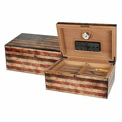 Old Glory Cigar Humidor, Weathered American Flag Exterior, 1 Glass Hygrometer, 1