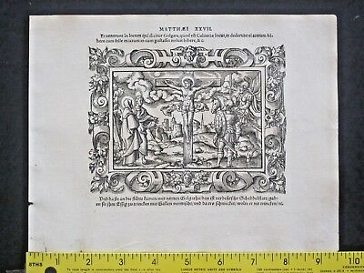 2 Virgil Solis Woodcuts,ca.1565 Crucifiction and Burial of Jesus