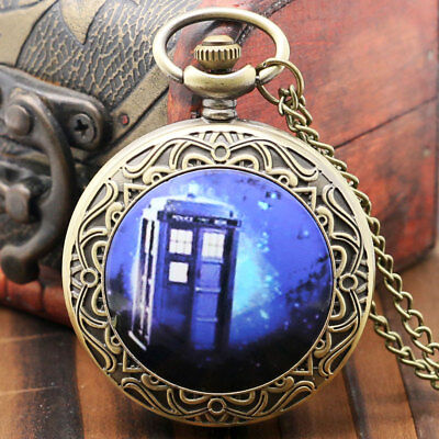 Fashion Steampunk Doctor Who TARDIS Necklace Quartz Pocket Watch Retro Chain