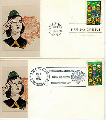 USA Girl Scouts 75th Anniv SET OF 2 Sarzin Photo Card FDC/Event 1987 Issue