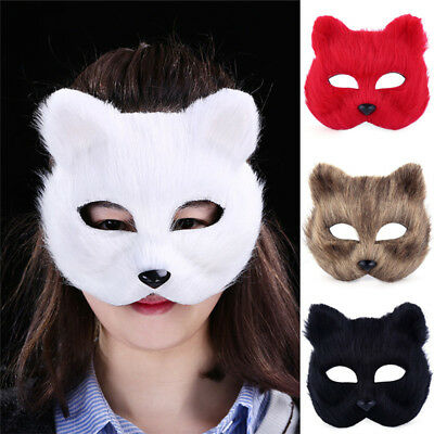 Halloween Animal Cosplay Fox Half face Women's Men's Mask Veil Party Cute