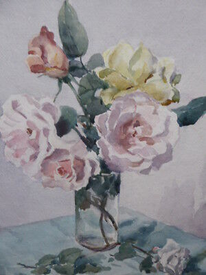 Watercolour Pink An Yellow Roses    Listed Artist Beatrice Johnson Free Shipping