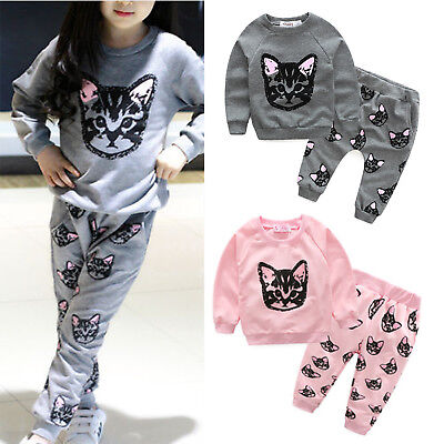 2pcs Toddler Kids Baby Boy Girls Cat T-shirt Tops Pants Set Clothes Outfits 1-5Y