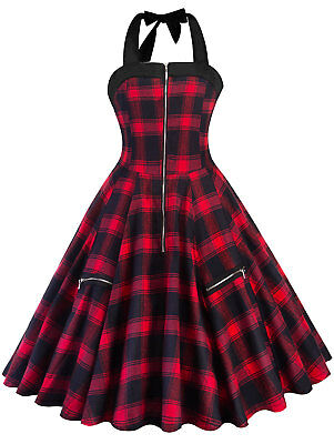 Vintage 50s 60s Retro Check Plaid Rockabilly Pinup Housewife Party Swing Dress