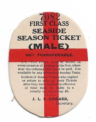 1960's Unused First Class Seaside Season Ticket Male Rarely Seen No 7082