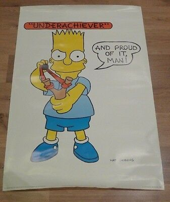 Original 1990 Simpsons Poster Bart Simpson Underachiever And Proud Of It Man