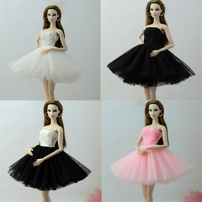 Handmade Doll Dress Clothes For Barbie 1/6 Dolls Party Daily Tulle Gown Dress MW