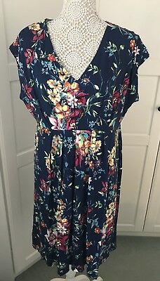 Navy Floral Summer Dress From Joe Browns, Size 18 Holidays Summer 🏖 RRP £55