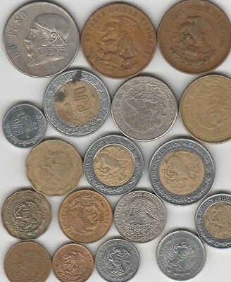 18 different world coins from MEXICO