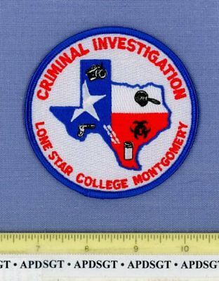 LONE STAR COLLEGE CRIMINAL INVESTIGATION TEXAS School Campus Police Patch CSI
