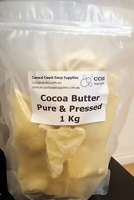 SALE 1Kg COCOA BUTTER 100% pure pressed premium soap skin moisturiser FREE POST