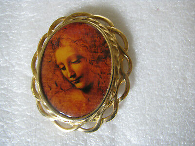 Vintage Goldtone Metal Cameo With Portrait Women Brooch Pin