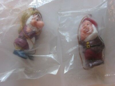 2 Vtg Disney Dwarf Ornaments - 2 Inches Tall