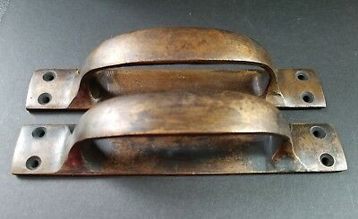 """2 Antique Solid Brass Large Strong Gate Cabinet Trunk Chest Handles 6-3/8""""w #P18"""