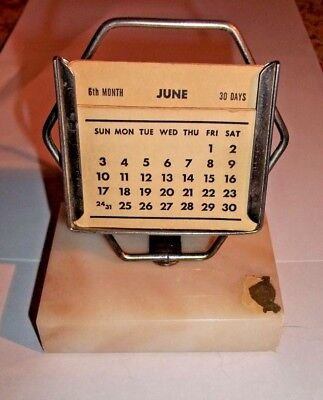 """Vintage """"New Diamond"""" Perpetual Calendar with Marble Base"""