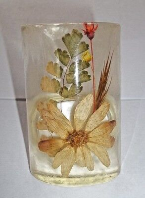 Vintage Acrylic Night Light With Dried Flowers